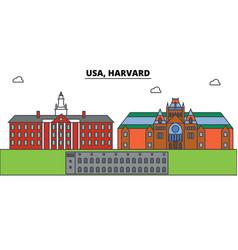 usa harvard outline skyline american flat thin vector image vector image