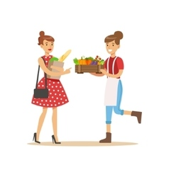 Vendor Bringing Crate Of Vegetables To Buyer vector image vector image