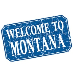 Welcome to montana blue square grunge stamp vector