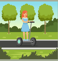 Young redhead woman riding on scooter in city par vector