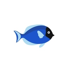 Blue fish icon in flat style vector image
