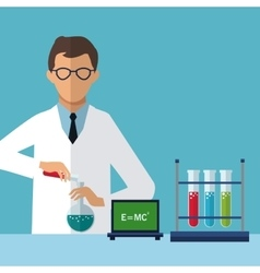Medical scientist experiment laboratory chemistry vector
