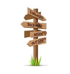 wooden arrow direction signboard vector image