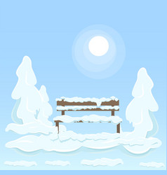 wooden isolated bench under snow between trees vector image