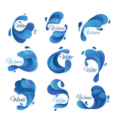 Ocean and sea waves with water drops isolated vector