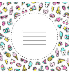 Card template pop pins patches vector