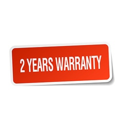 2 years warranty red square sticker isolated on vector