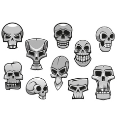 Cartoon human scary halloween skulls vector