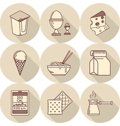Lunch line icons vector