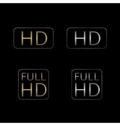 Hd and full hd icons vector