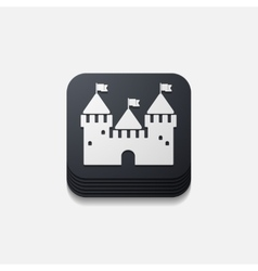 Square button fortress vector