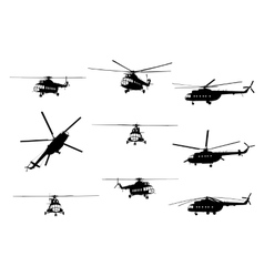 Helicopter of set silhouette vector