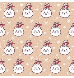 Rabbits in santas hats seamless pattern vector