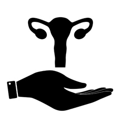 Uterus in hand icon vector