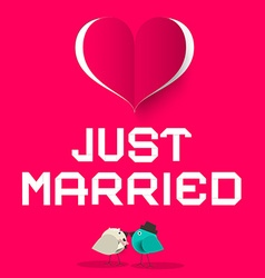 Just married pink retro card with love birds and vector