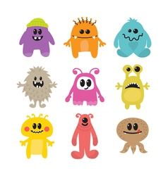 Set of cartoon funny smiley monsters collection of vector