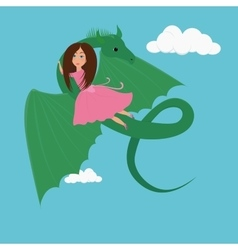 Girl and the dragon vector