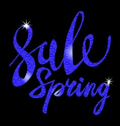 Spring sale blue inscription paint glitz glamor vector