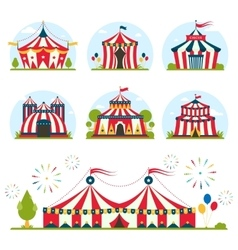 Cartoon circus tent with stripes and flags vector