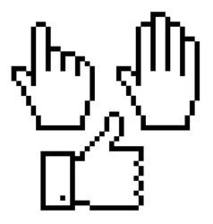 Set of pixelated hand icons vector