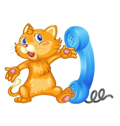 Cat with receiver vector image