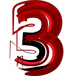Artistic font number 3 vector image vector image