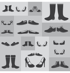 black boots and shoes on gray background eps10 vector image vector image