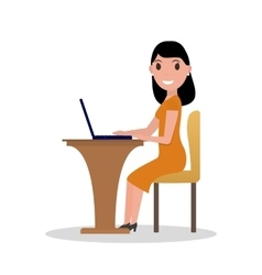 Cartoon woman working at his laptop vector