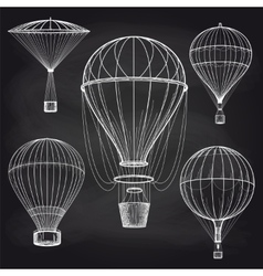 Chalk hot air balloons blackboard vector