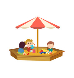 Children playing in the sandbox on playground vector