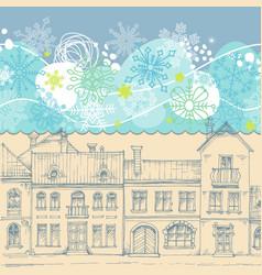 Christmas card blue sky snowflakes border vector