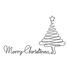 Christmas tree one line drawing vector