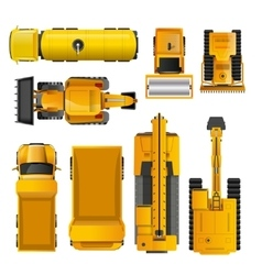 Construction machines top view vector