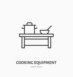 Cooking equipment flat line icon table with pan vector