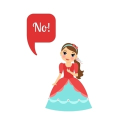 Cute cartoon princess with speech bubble vector image vector image