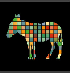 Donkey farm mammal color silhouette animal vector