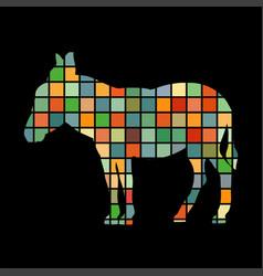 Donkey farm mammal color silhouette animal vector