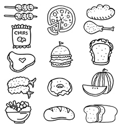Doodle of food set stock vector image