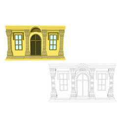 Entrance and two windows vector