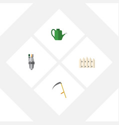 Flat icon garden set of pump bailer wooden vector