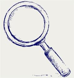 Handwritten magnifier vector image vector image