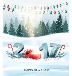 Happy New Year 2017 nature background with vector image vector image