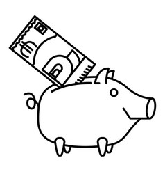 happy piggy bank or money box vector image vector image