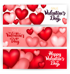 Happy valentine day banners vector