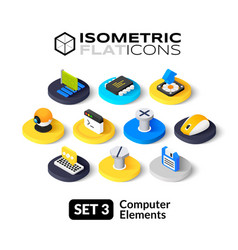 Isometric flat icons set 3 vector image vector image