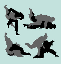 Judo duel sport silhouette vector