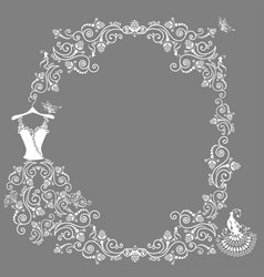 Lace wedding dress vector