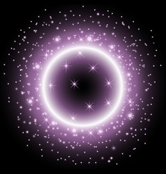 Light ring with stardust purple color vector