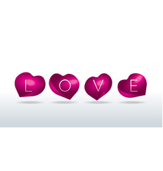 love sign in shell-shaped hearts vector image vector image