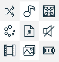 Music outline icons set collection of playlist vector